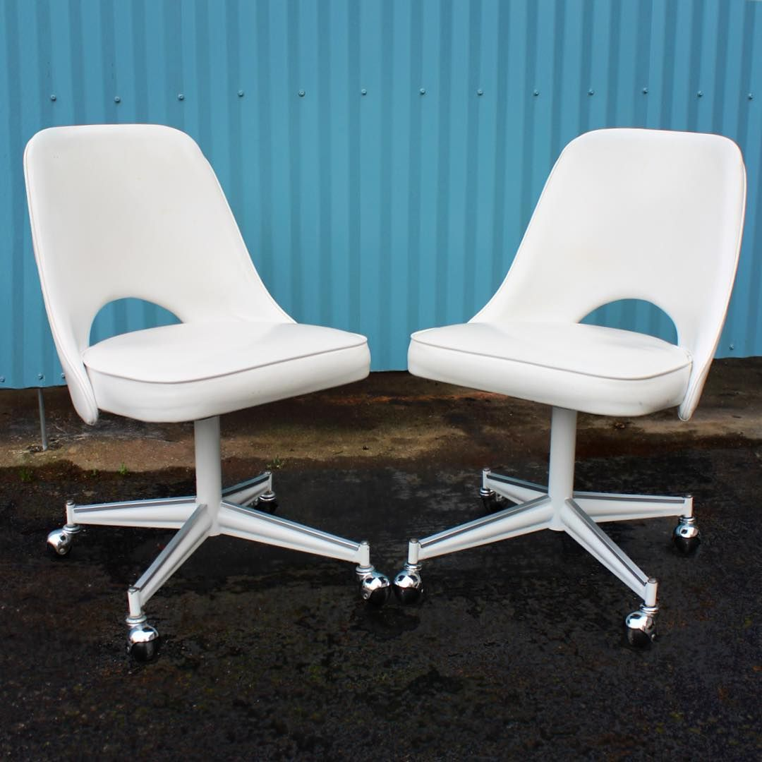 Pair of White Vinyl Mid Century Chairs on Casters $125 & Pair of White Vinyl Mid Century Chairs on Casters $125 | Danish Mid ...