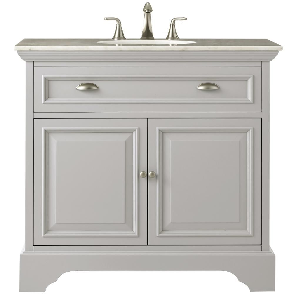 Home Decorators Collection Sa 38 In W Bath Vanity Dove Grey With Natural Marble Top White 9673200270 The Depot