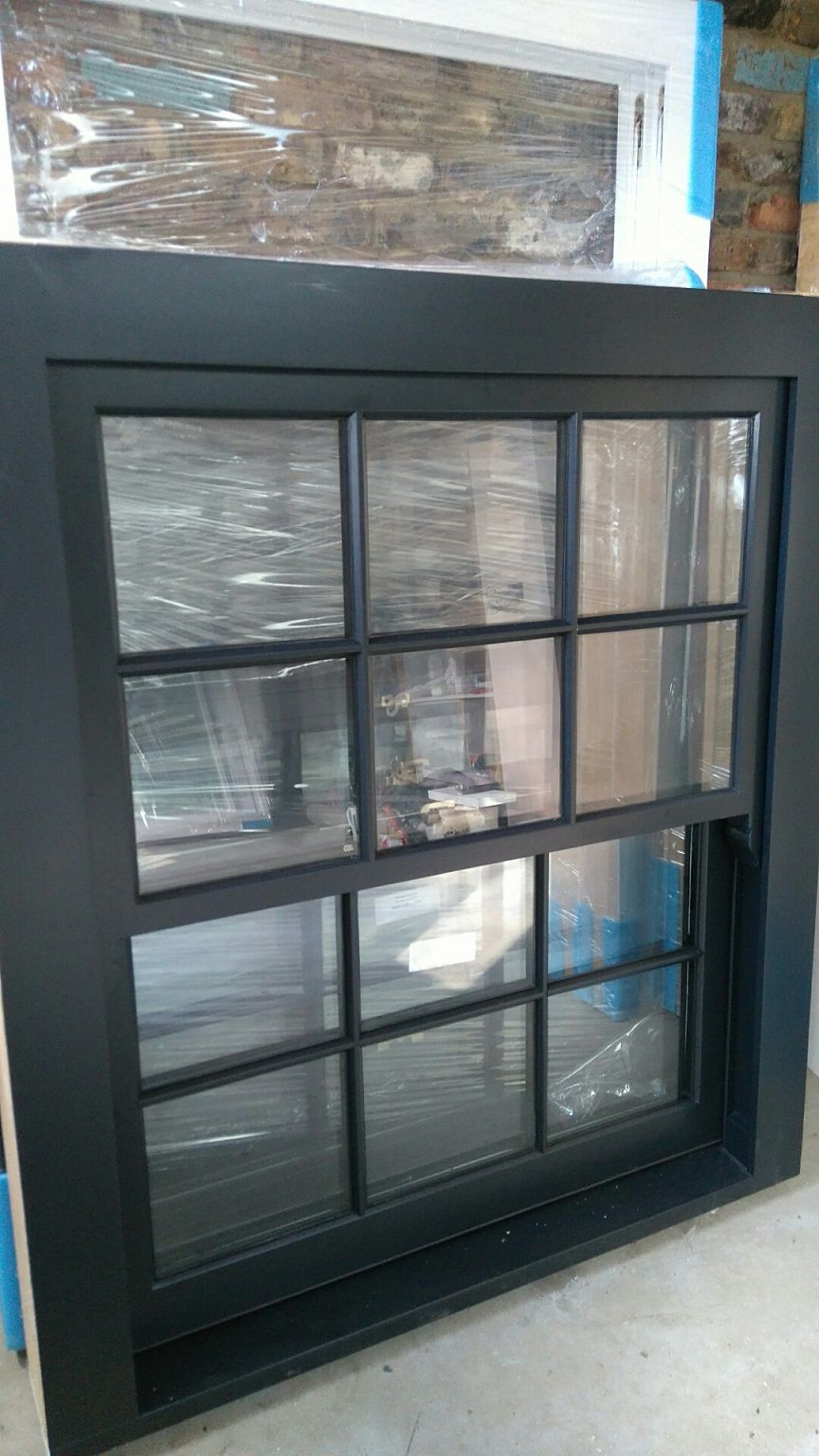 Black georgian 6 over 6 finished in ral 9011 supplied by for Windows direct