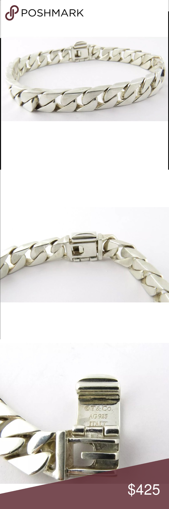 Tiffany Co Heavy Men S Curb Link Bracelet 8 25