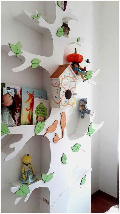 Стеллажи: Белое дерево-стеллаж для детской комнаты 5 ...