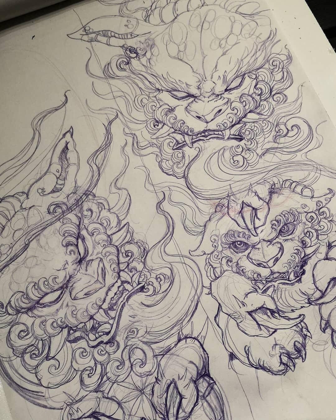 Image May Contain Drawing Foo Dog Tattoo Design Foo Dog Tattoo Japanese Tattoo Art