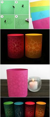 Bastellaternen – buntes Papier, Blumen, Muster, weiße Kerze, Kerzenhalter …