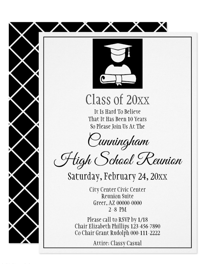 Minimalist Black White High School Class Reunion Invitation