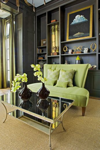 Study With Dark Gray Walls And Green Accents