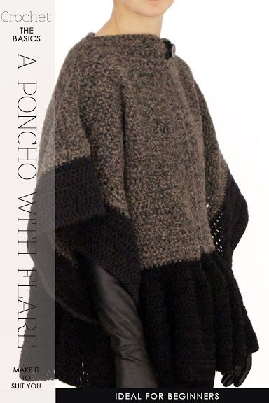 Oversized comfort! Crochet this very easy poncho with an attractive ...