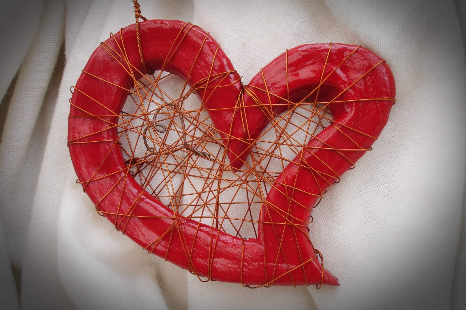 Copper Clay Heart To Heart Sculpture