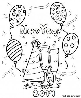 Printable Happy New Year 2014 clipart coloring pages fargelegge