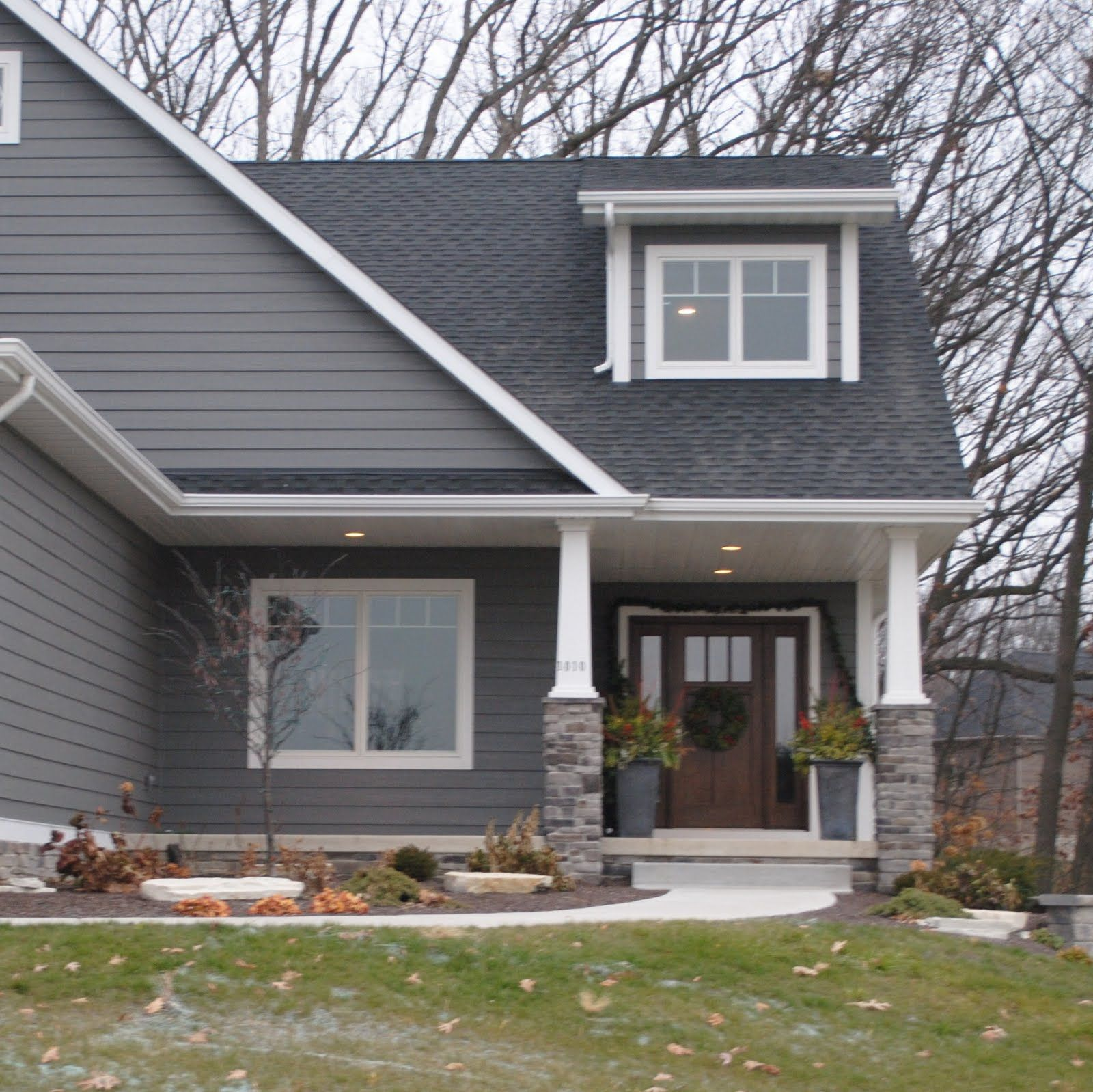 dark gray vinyl siding and white trim houses