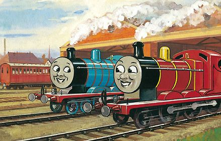 Thomas The Tank Engine And James The Red Engine From The Books By Rev W V Awdry Illustratio Friends Illustration Childrens Book Characters Thomas And Friends