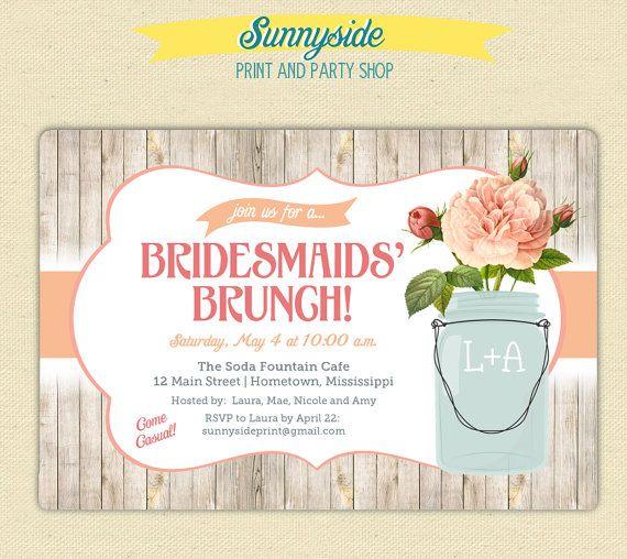 Bridesmaids Brunch Invitation Rustic Mason Jar Brunch Luncheon
