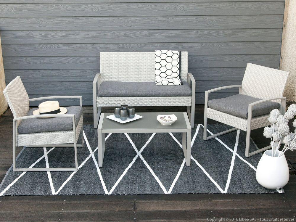 Salon de jardin 4 places en acier et résine tressée : 1 table ...