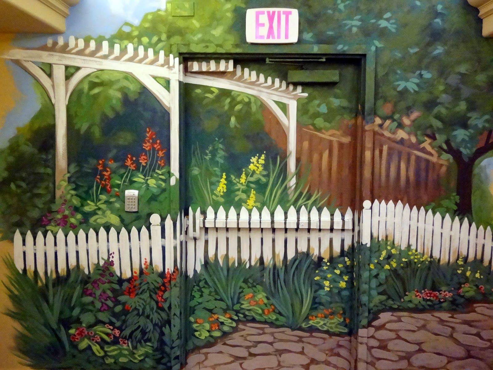 Garden mural white fence garden mural portland oregon for Mural garden