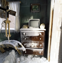 """Chris Larson - Deep North (2008)    """"Set into the snow, this abandoned house had the artist working in below zero temperatures to get the interior and exterior carved out just right. During the coldest months the dilapidated house was sprayed with thousands of gallons of water and left to freeze. The result was chilling, and at some points looks more like a thick coat of white acrylic."""""""