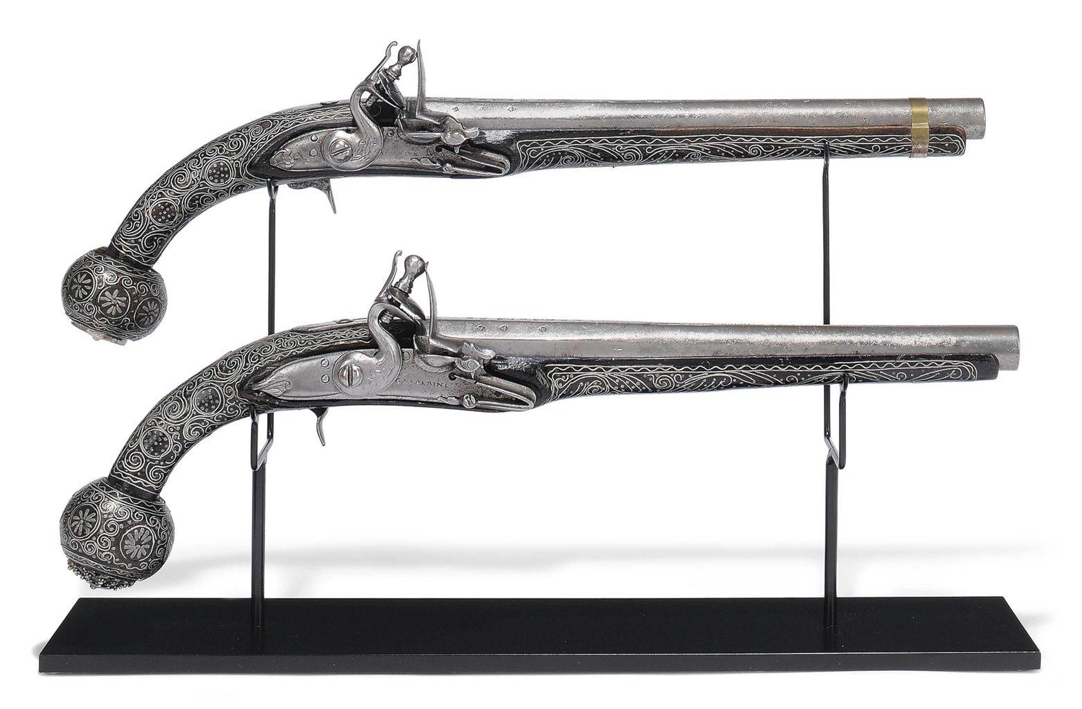 A Pair Of Ottoman Flintlock Pistols Kubur Turkey Late 18th