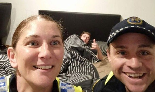 Awesome Cops Take Selfie With Drunk Passed Out Dude So He Knows How He Got Home