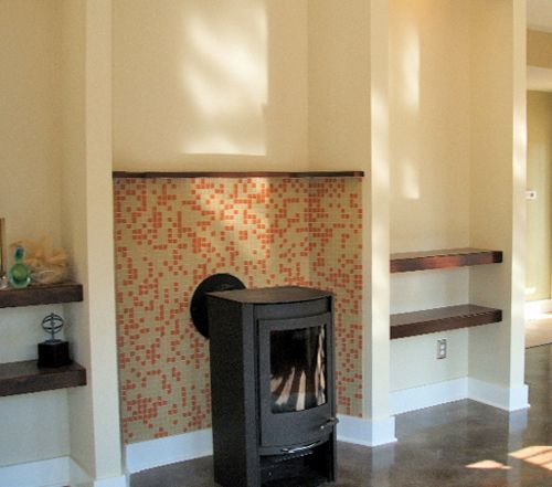 Tile Behind Wood Stoves | ... Tile, A Red And Tan Blend Backsplash