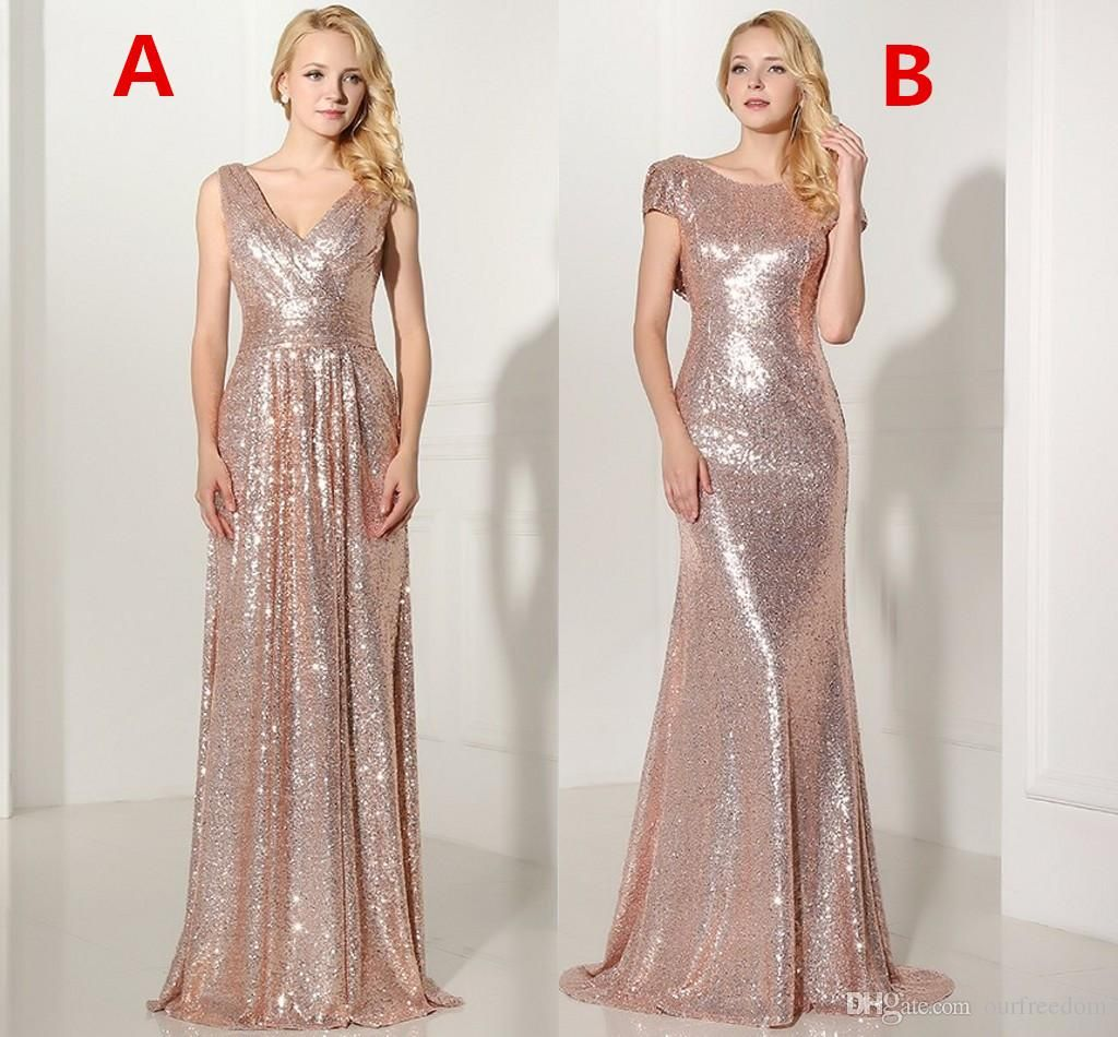 Under cheap rose gold sequined long bridesmaid dresses sexy vneck