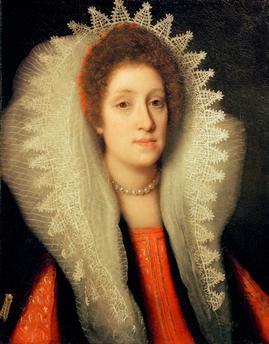 Maria Magdalena, grand duchess (Cosimo II de' Medici) of Tuscany.  Portrait.  Painting, undat., ascribed to Cristofano Allori (1577–1621).
