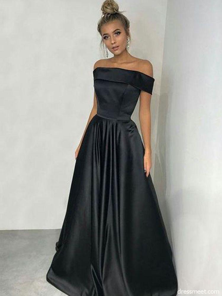 6e5fc1318973 Elegant A Line Off the Shoulder Satin Black Long Prom Dresses with Pockets , Elegant Evening Dresses | Dressmeet.com