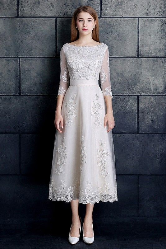 Shop Low Price Vintage Tea Length Lace Tulle A Line White Wedding