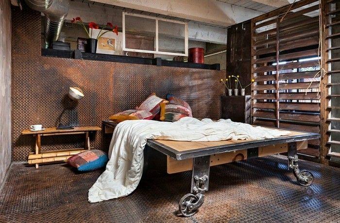 Holz Le Design 10industrialdesign möbel doppelbett rädern holz metall bunte kissen