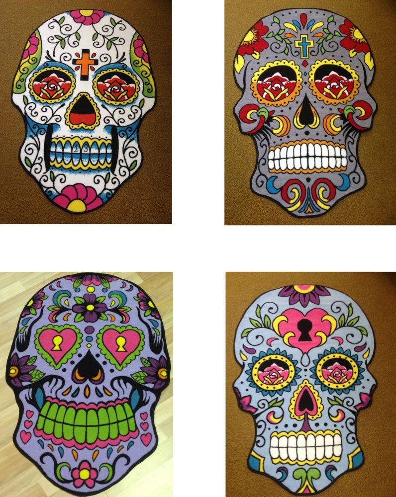 New Children/'s Rug Sugar Skull 100 x 150 Mat Floor Day of the Dead Hot Pink