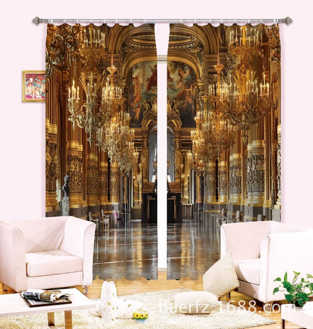 Magnificent palace 3D Beach Photo Printing Blackout Curtains For