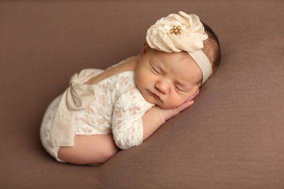 4c6fe01f66e Newborn girl lace romper set newborn girl cream photo outfit