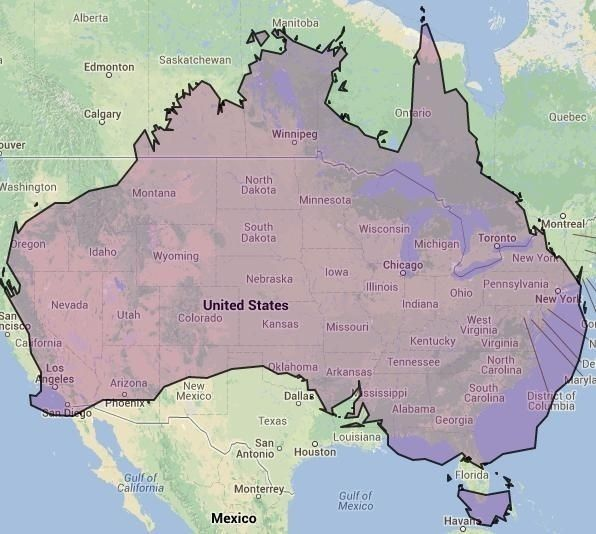 Map Of Australia And Usa.17 Maps Of Australia That Will Make Your Mind Boggle Australia