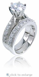 The Aubrey Round Cubic Zirconia Cathedral Milgrained Pave Bridal Wedding Set Features A 1 5 Carat 7 5mm Brilliant Center Stone With