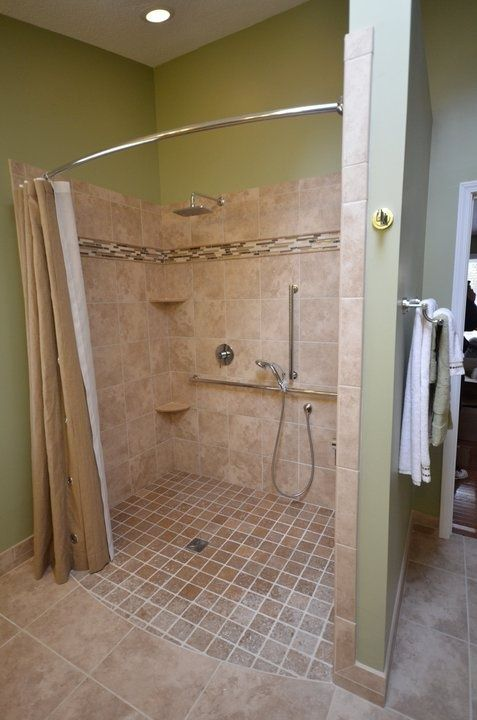 Handicapped Accessible Shower Roll-in shower. Curved rod increases ...