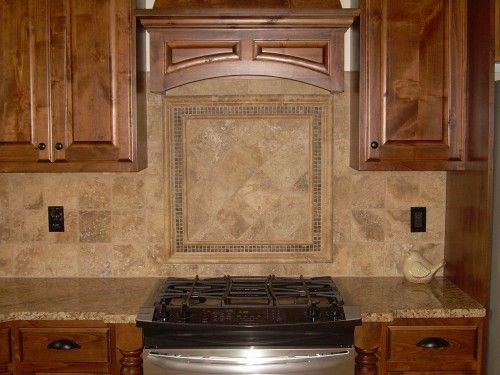 Subway Travertine Mosaic Backsplash Tile In This Kitchen