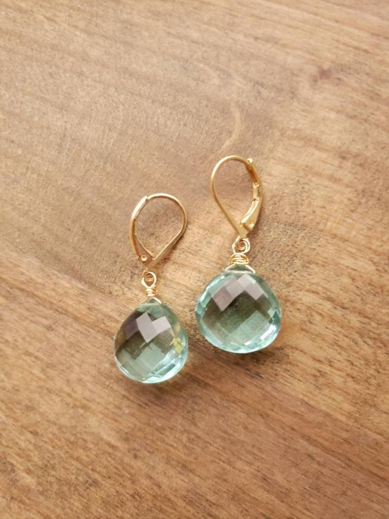 Green Amethyst AKA Prasiolite Solid Silver Earrings