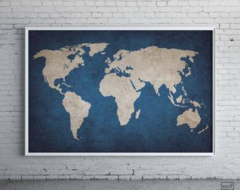 Rustic Navy Blue World Map Old Large By Wordbird
