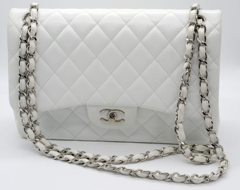 08f0810c42b9 Chanel White Caviar Medium Single Flap Shoulder Bag | Bags Available ...