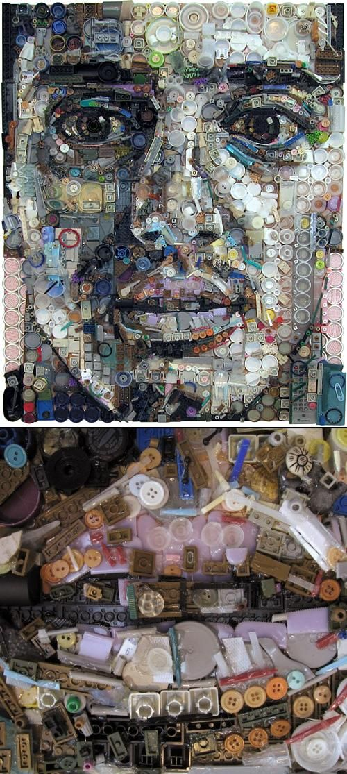 Found object portrait collage by contemporary artist zac freeman i really like this self portrait with all the little dots or circles