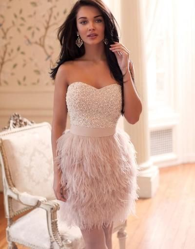 Feather Homecoming Dress, Blush pink Homecoming Dress, 2016 Homecoming Dress…