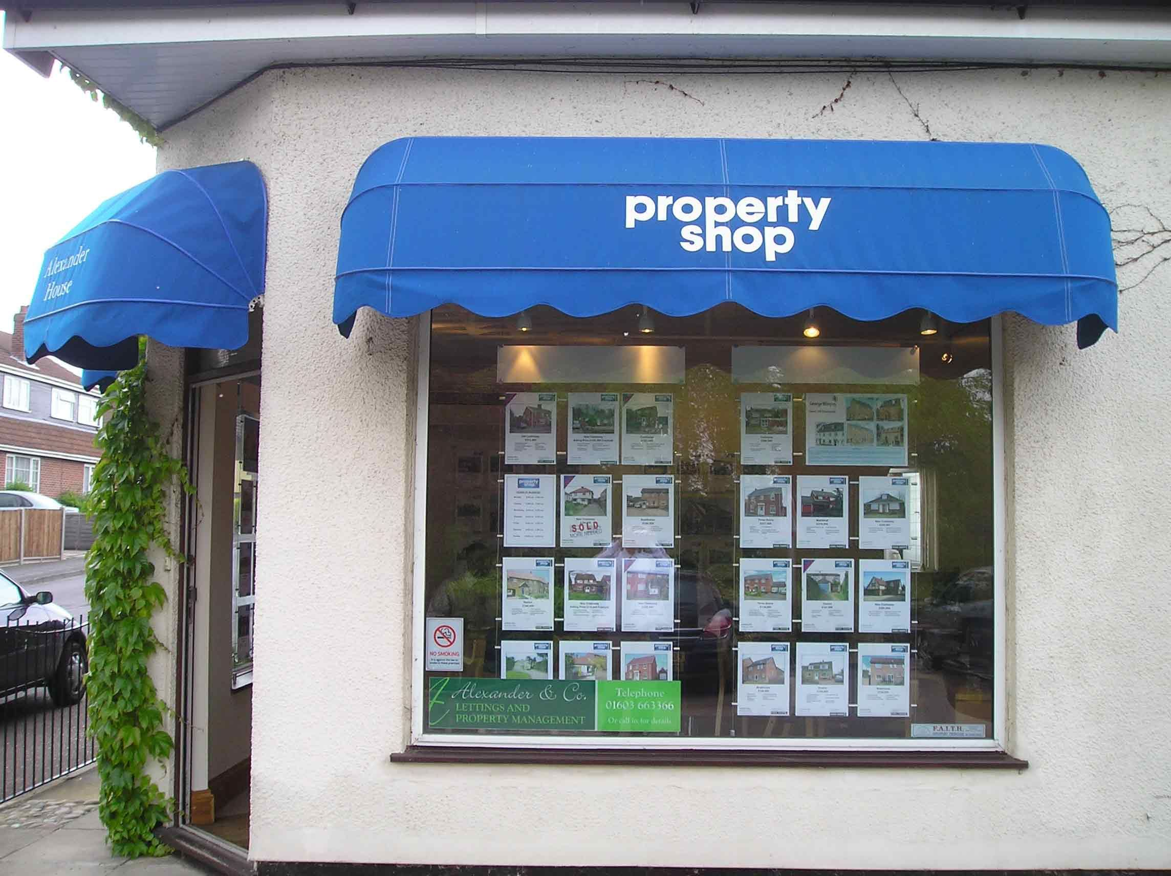 Printed Canopy Awning For The Property Shop Norwich Kanopi Tenda Kain