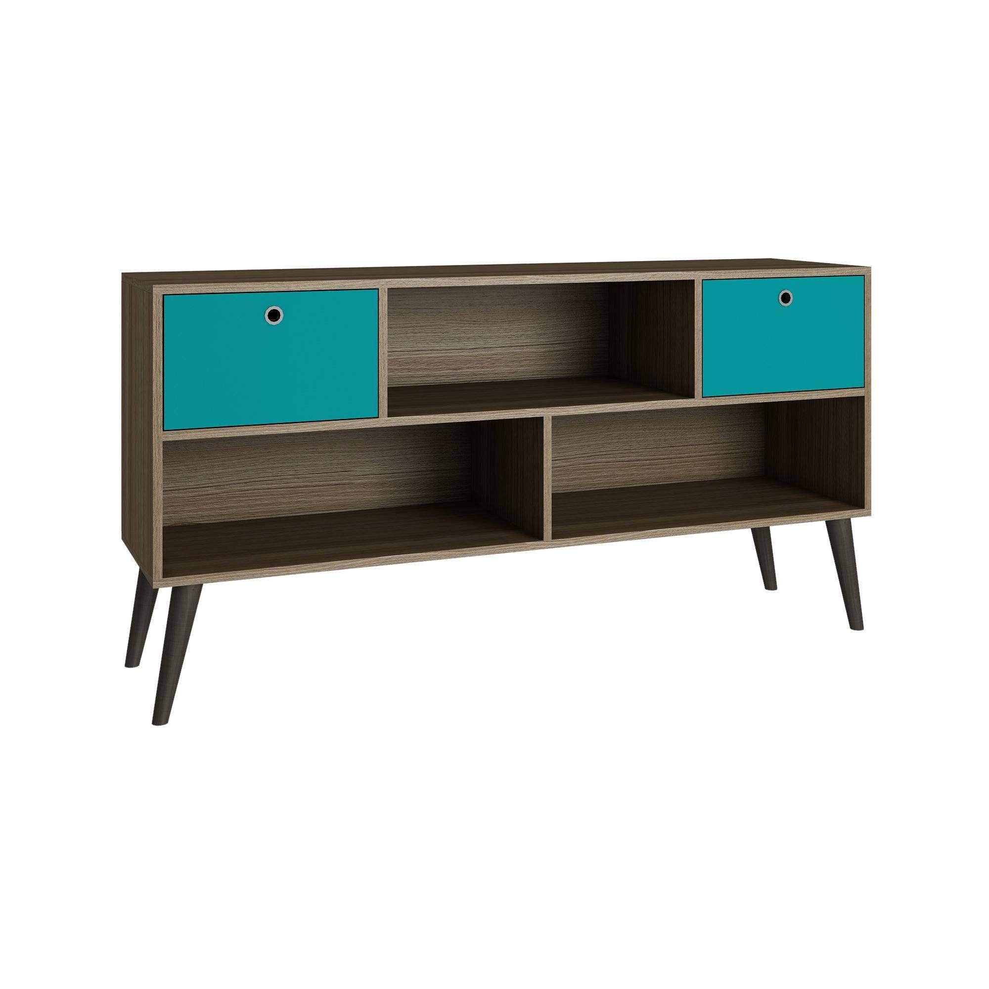 Uppsala Tv Stand With 3 Shelves Oak Brown Aqua Manhattan Comfort