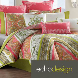 Echo Gramercy Pink Green Paisley Print Cotton 3 Piece Comforter Set