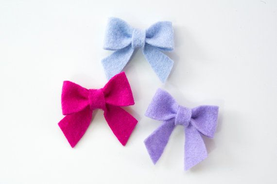 The Sailor Stick-On Bow Three Pack,Felt Bow,Newborn bows,Baby Bow,Girlie Glue,Gift Set,Blue Bow,Pink Bow,Purple Bow,Mini Bows