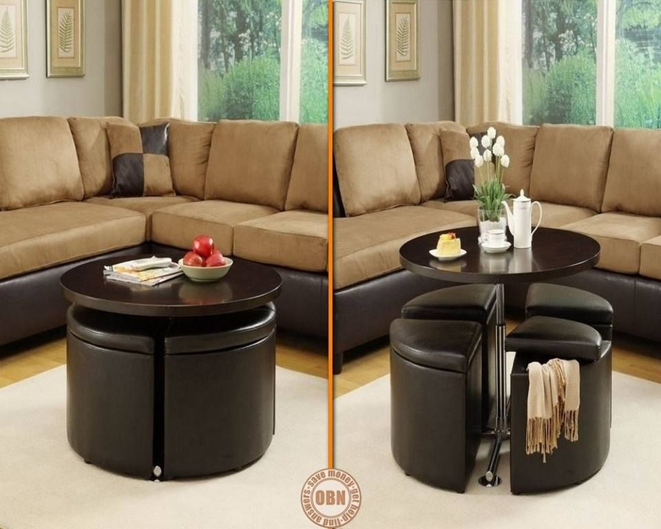 isn't this convenient? this coffee table turns into a dining table