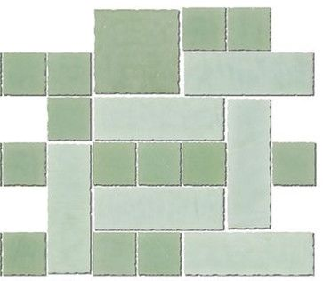 Quarter Sheet Of Jadeite Green Handmade Gl Tile Contemporary Wall And Floor