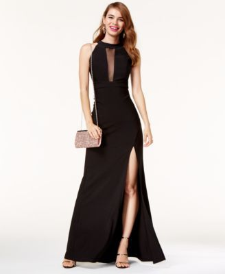 1e262f534f6b Emerald Sundae Juniors' Sheer-Inset Halter Gown | macys.com. Find this Pin  and more on Black tie event ...