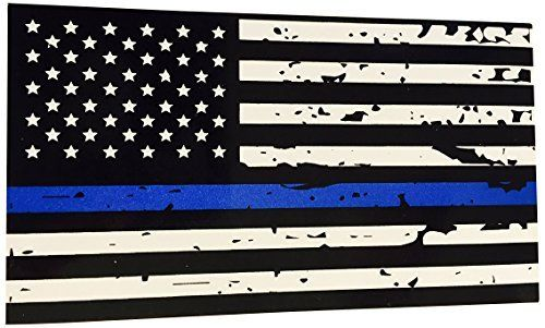 Blueline Flags Tattered Thin Blue Line Vinyl Reflective Decal