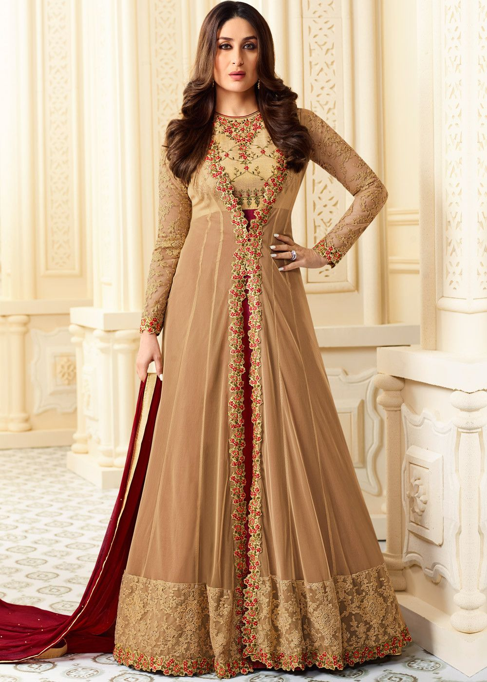 278153df68 #Beige and #maroon full length #anarkali #kameez topped by a #beige net  #jacket embellished with #resham and zari #embroidery.