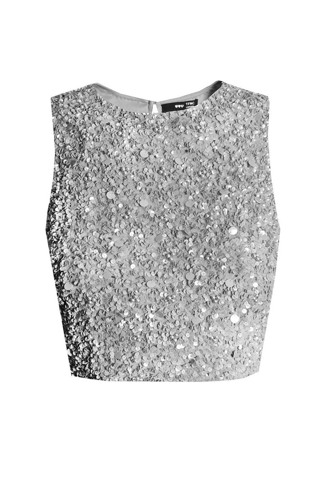 67450de185dbe Lace   Beads Picasso Grey Sequin Top