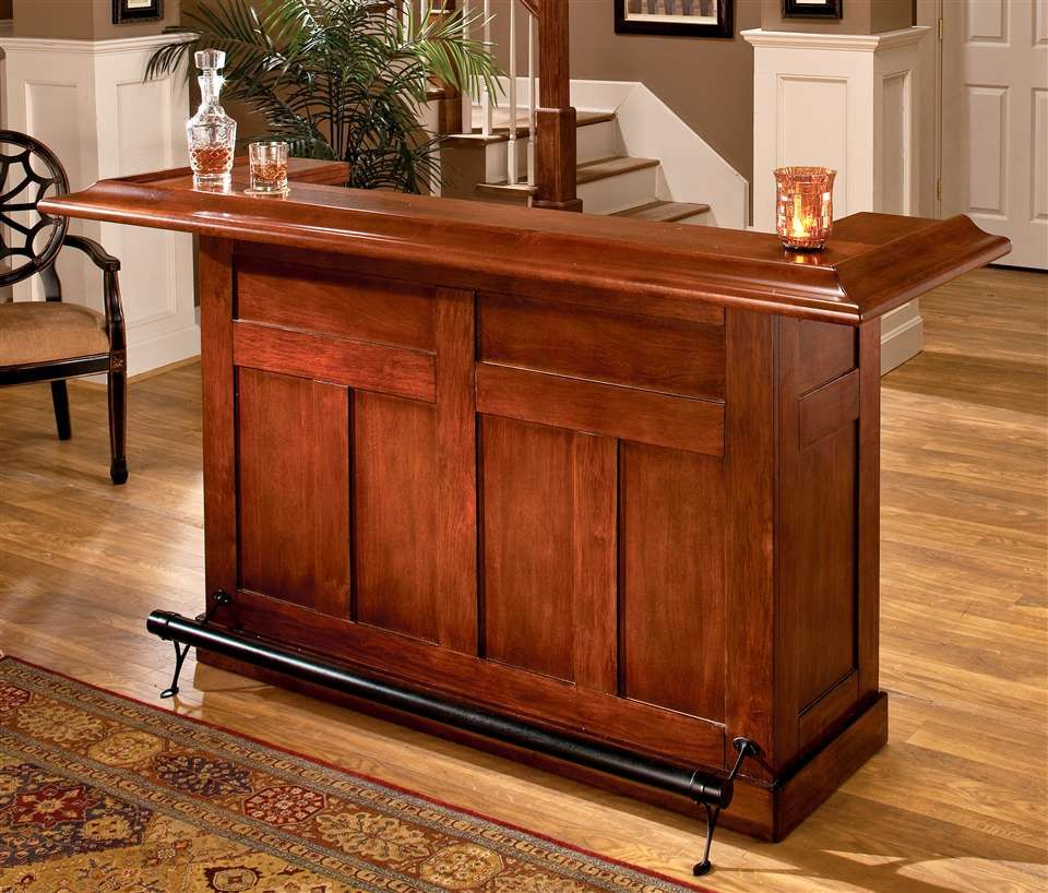 Cherry Finished Wooden Bar With Footrest Wooden Home Bar Bars For Home Small Bars For Home