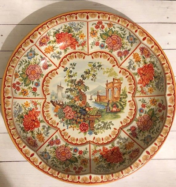 Vintage Metal Plate Bowl, Daher Decorative Ware, Vintage Plate, Vintage Bowl, Vintage 1970 #dishware